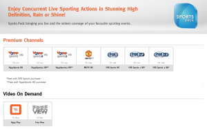 unifi TV sports pack channels